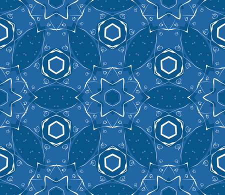 Seamless decorative wallpaper with floral ornament in blue color Stock Vector - 13490927