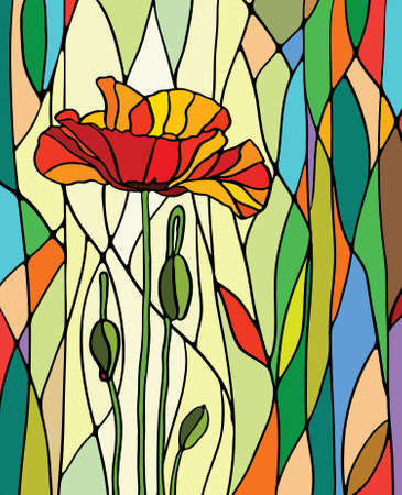 Multicolored stained glass with floral motif