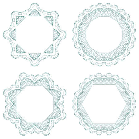 Set of guilloche element for certificate, money design Stock Vector - 13492658