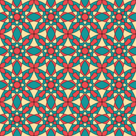 Seamless colorful retro pattern background, multicolored stained glass window