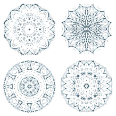 inimitable: Set of blue vector guilloche rosettes certificate or diplomas, decorative elements Illustration