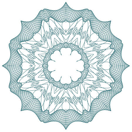 guilloche pattern: round guilloche element for certificate, money design Illustration