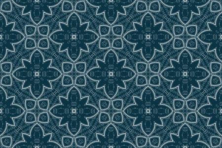 antiek behang: Naadloze vector decoratieve blauwe achtergrond met florale versiering