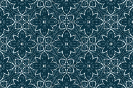 Seamless vector decorative blue wallpaper with floral ornament