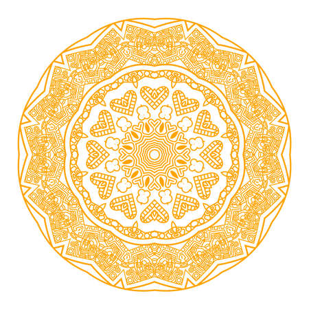 Ethnicity round ornament in yellow and white colors, mosaic vector illustration Stock Vector - 13677805