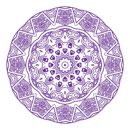 mayan prophecy: Ethnicity round ornament in violet and white colors, mosaic  illustration