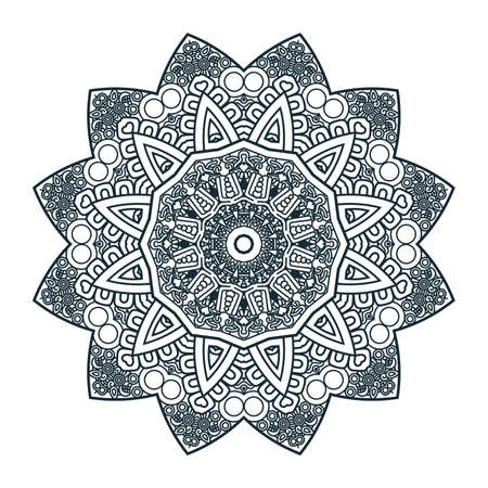 mayan prophecy: Ethnicity round ornament in black and white colors, mosaic  illustration Illustration