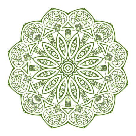 mayan prophecy: Ethnicity round ornament in green and white colors, mosaic  illustration
