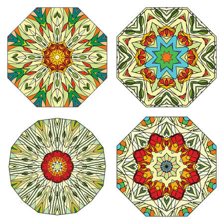 prophecy: Set of colorful ethnicity round ornament, mosaic stained glass