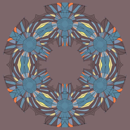 Colorful ethnicity round ornament, mosaic illustration in blue and brown colors Vector