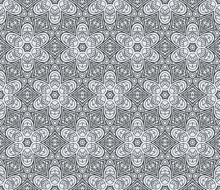 Seamless wallpaper with black aztec ornament on a blue background Vector