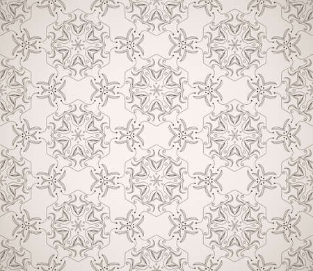 Seamless decorative wallpaper with ethnicity ornament in brown and beige colors Vector