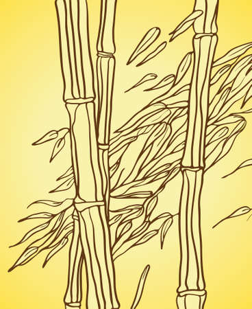 Bamboo with leaves in the wind, painted on a yellow background Vector