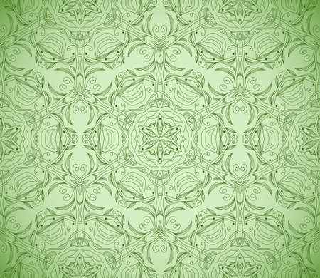 Seamless decorative wallpaper with floral ornament in green color Stock Vector - 13728974