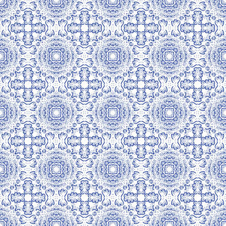 Seamless decorative wallpaper with floral ornament in blue color Vector