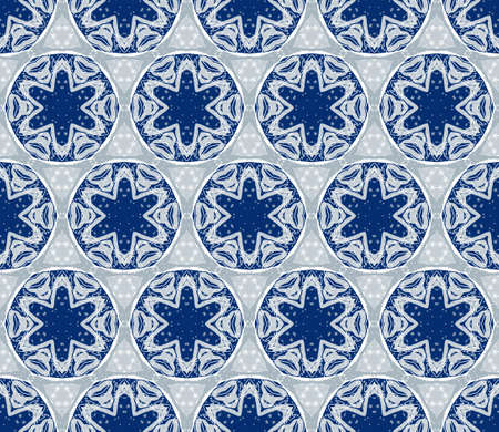 Seamless decorative wallpaper with winter ornament in blue color Vector