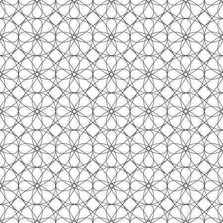 seamless black illustration of tangier grid, abstract guilloche background Vector
