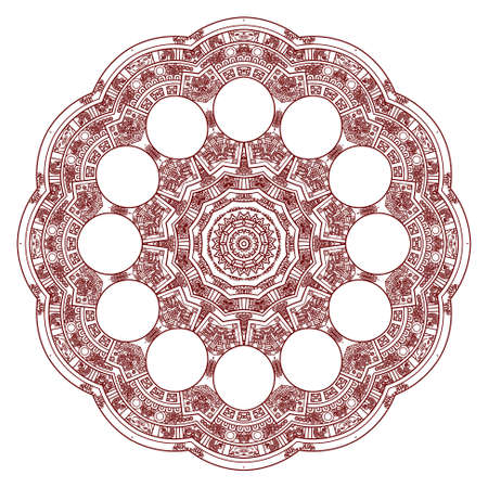 Stylized Aztec Calendar in red color  Vector