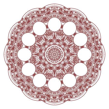 prognostication: Stylized Aztec Calendar in red color