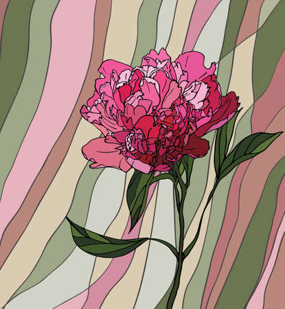 glass window: Multicolored stained glass with floral motif, a peony on a multicolored striped background Illustration