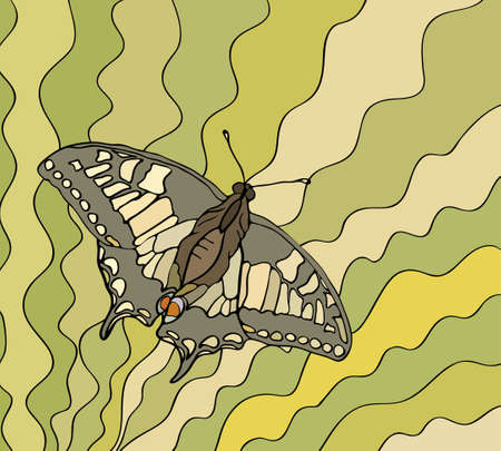 Butterfly on a striped background, multicolored stained glass windows Vector
