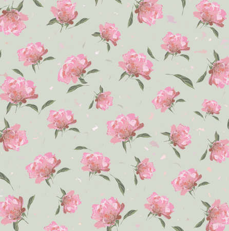 Floral pattern of pink peony on a color background Vector