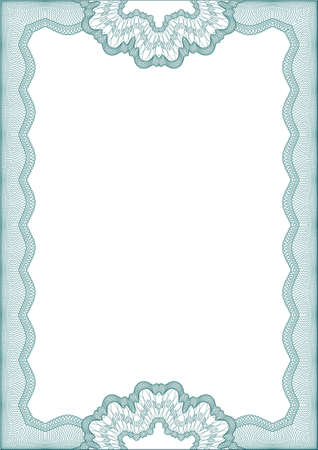 Guilloche green frame for diploma or certificate Vector