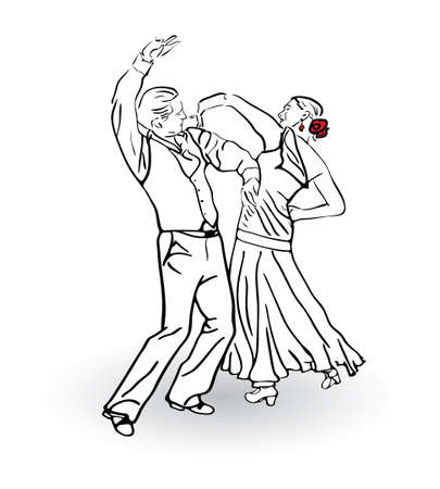 The man and the woman dance a tango  Couple dancing sketch concept  Vector illustration Vector
