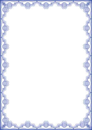 guilloche: Guilloche vector blue frame for diploma or certificate