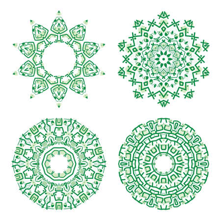 mayan culture: Set of colorful ethnicity round ornament, green mosaic