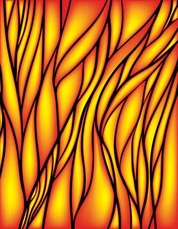 vetrate artistiche: Vetrata con il colore rosso e giallo, vettore modello a rete astratta, eps 10