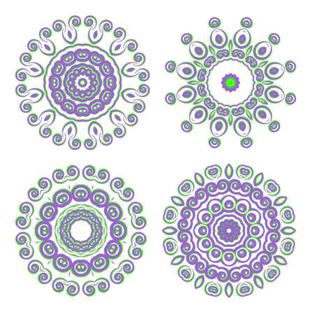 Abstract round ornamental pattern in purple and green colors