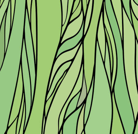 Stained glass window with green color, vector abstract hand-drawn pattern Vector