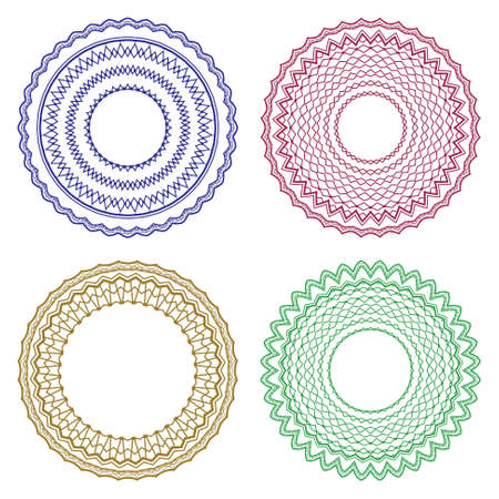 circle pattern: Vector pattern for currency, certificate or diplomas, decorative frames