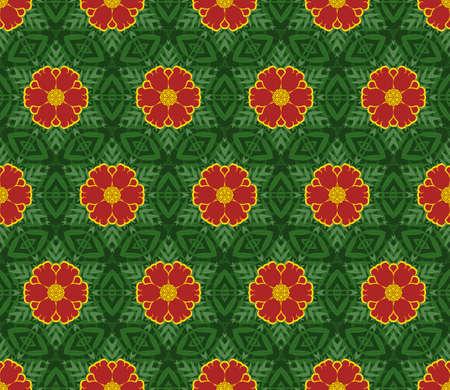 marigold: Creative design of a retro color background, multicolored seamless decorative pattern Illustration