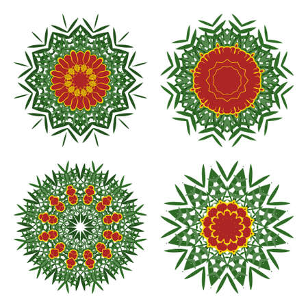marigold: Collection of bouquets of marigold in a circular frame Illustration