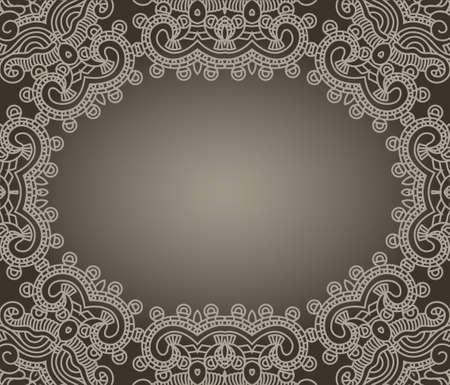 classic art: Abstract ornamental brown frame, elegant vintage label