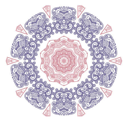 mayan prophecy: Ethnicity round ornament in pink and blue colors, mosaic illustration