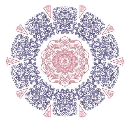 cultura maya: Etnia ronda adorno en colores rosa y azul, la ilustración del mosaico
