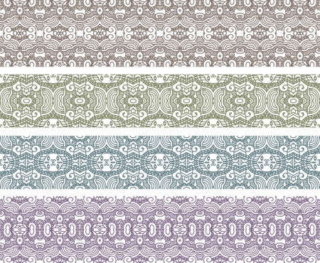 Set of borders with aztec ornament  Interesting solutions for your design  Vector