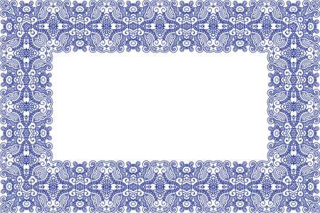 Abstract ornamental blue frame, elegant vintage label Vector