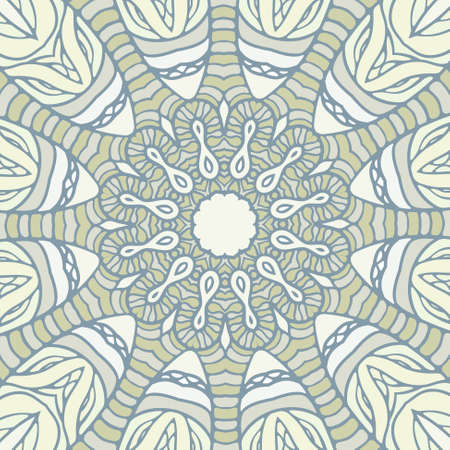 Abstract round ornamental pattern in blue and green colors Vector