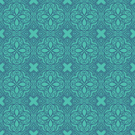 Seamless decorative wallpaper with floral ornament in blue color Stock Vector - 14331411