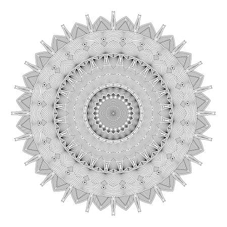 history month: Ethnicity round ornament in black and white colors, mosaic illustration