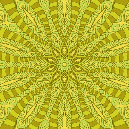 Abstract round ornamental pattern in yellow and green colors Stock Vector - 14331414