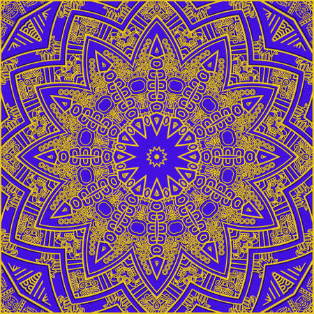 mayan prophecy: Ethnicity round ornament in violet and gold colors, mosaic illustration