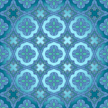 Seamless decorative wallpaper with floral ornament in blue color Stock Vector - 14376747