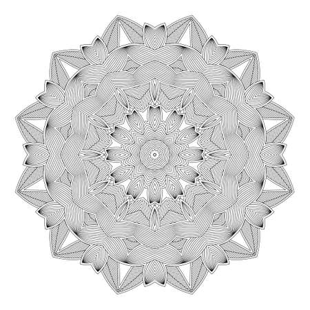 prophecy: Ethnicity round ornament in black and white colors, mosaic illustration