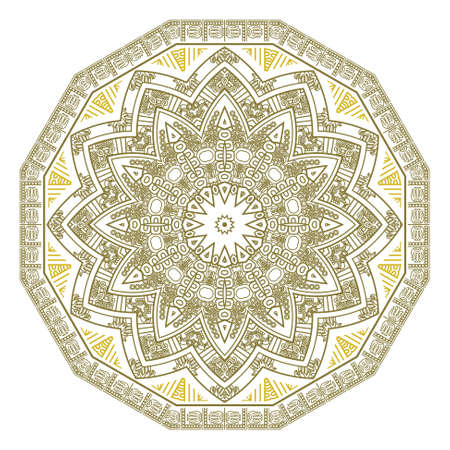 Abstract round ornamental pattern in beige and yellow colors Vector