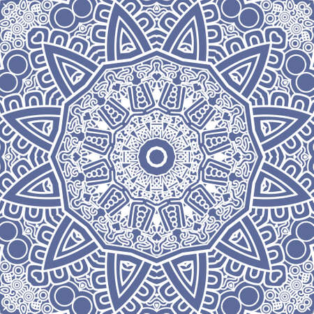 prognostication: Ethnicity round ornament in blue and white colors, mosaic vector illustration